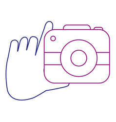 hand with camera photographic isolated icon vector image