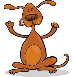 happy playful standing dog cartoon vector image