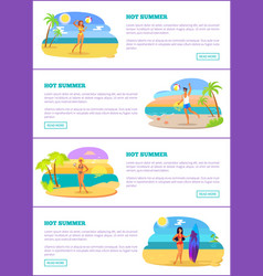 hot summer collection of pages vector image