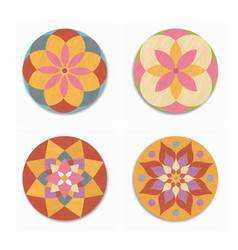 indian mandala lotus flower icon set isolated vector image