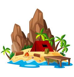 Isolated summer beach campsite vector