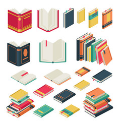 Isometric book collection opened and closed books vector