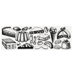 Italian desserts pastries and cookies collection vector
