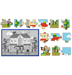 Jigsaw pieces of family at home vector