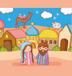 Joseph and mary with camel and sheep in the city vector