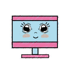Kawaii cute happy computer technology vector