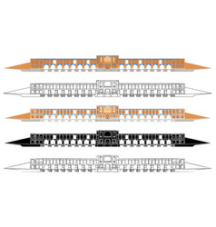 Khaju bridge front side colored and outline vector