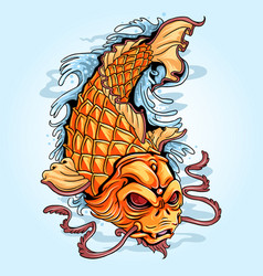 koi fish gold tattoo artwork vector image