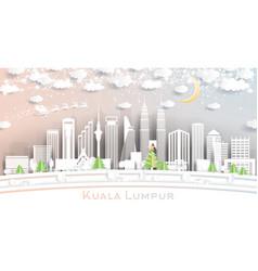 Kuala lumpur malaysia city skyline in paper cut vector