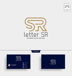 Letter sr attorney logo line design template vector