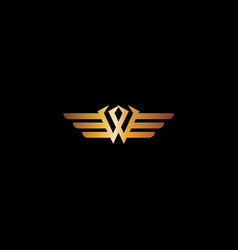 Letter w wings luxury logo design concept template vector
