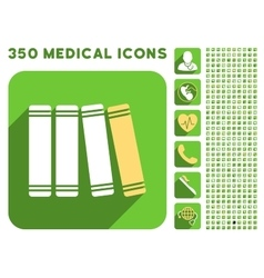 Library Books Icon and Medical Longshadow Icon Set vector image