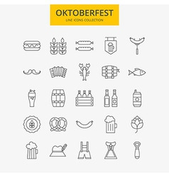 Line Oktoberfest Icons Big Set vector image