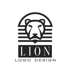 lion logo design element for poster banner vector image