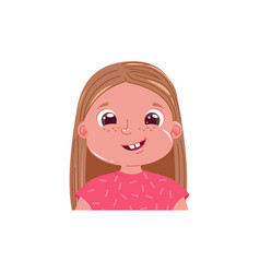 Little girl cute smiling happy emotion child vector