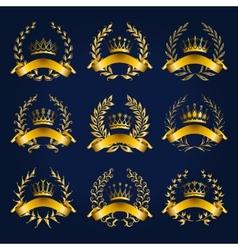 Luxury gold labels with laurel wreath vector