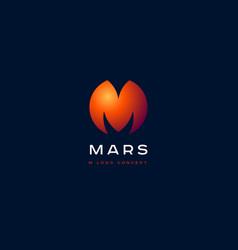 m planet emblem and mars logo vector image