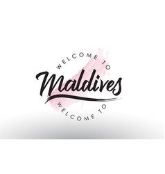 Maldives welcome to text with watercolor pink vector