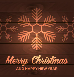 merry christmas and happy new year wood background vector image