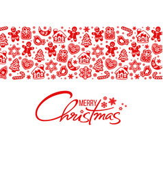 merry christmas greeting card handwritten text vector image