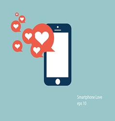 Mobile phone love icon vector