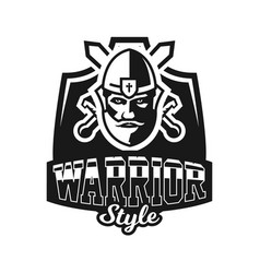 monochrome logo emblem knight in helmet against vector image