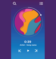 music player interface ui design template vector image