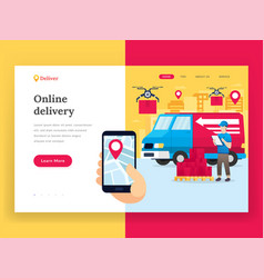 Online delivery service landing page vector