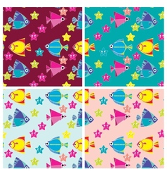 Pattern of marine fish and sea stars vector