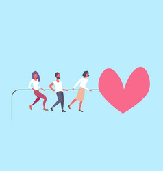 People pulling rope big pink heart shape happy vector