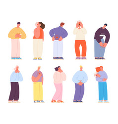 People with pain body pains characters chaes vector