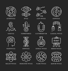 Physics branches chalk icons set physical vector