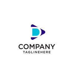 Play media letter d logo design concept template vector