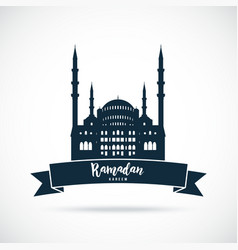 Ramadan kareem mosque sign greetings background vector