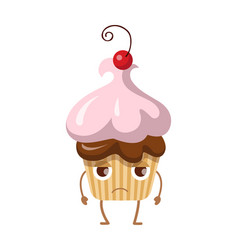 round fruit cupcake with cherry disappointed sweet vector image