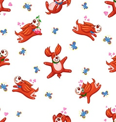 Seamless background happy puppy vector image