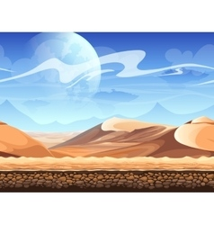 Seamless desert with silhouettes of spaceships vector
