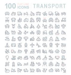 set line icons transport vector image