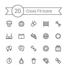 Set of crossfit gym equipment line icons vector