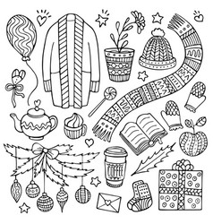 Set of doodle christmas and winter elements vector