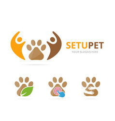 Set of paw logo combination pet and family symbol vector