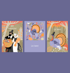 set thanksgiving cards with pilgrim vector image