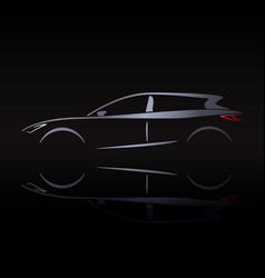 Silvery silhouette car on black background vector