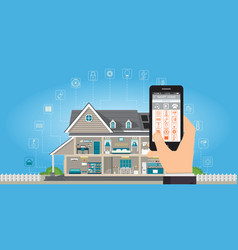 smart home with hand holding smartphone vector image