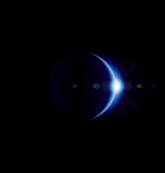 solar eclipse blue planet with blazing edge vector image
