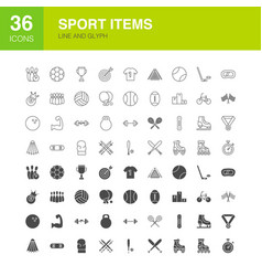 sport items line web glyph icons vector image