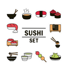 Sushi oriental japanese menu traditonal food icons vector