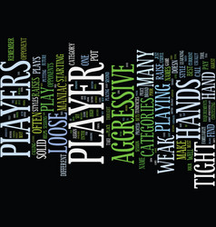 Texas holdem player categories text background vector