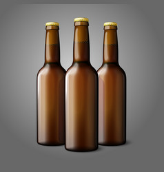 Three blank brown realistic beer bottles isolated vector image