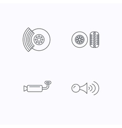 Tire tread brakes and steering wheel icons vector image